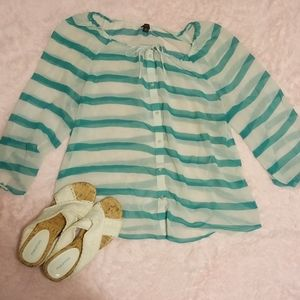 Ann taylor sheer long sleeve button up blouse